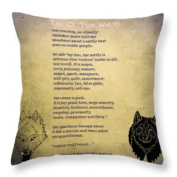 Throw Pillow featuring the painting Tale Of Two Wolves - Art Of Stories by Celestial Images