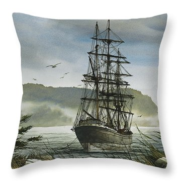 Throw Pillow featuring the painting Tall Ship Cove by James Williamson