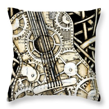 Tangle Guitar Throw Pillow by Delein Padilla