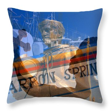Throw Pillow featuring the photograph Tarpon Springs Florida Mash Up by David Lee Thompson
