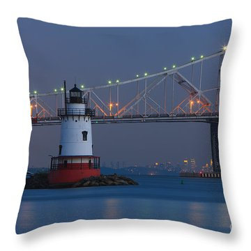Tarrytown Lighthouse And Tappan Zee Bridge At Twilight Throw Pillow by Clarence Holmes