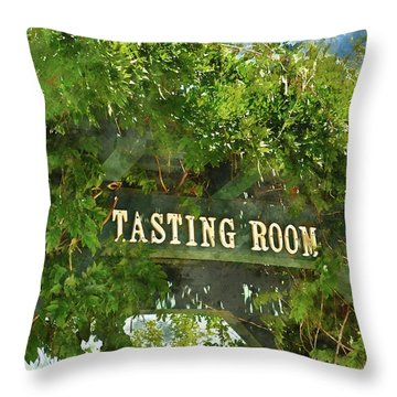 Tasting Room Sign Throw Pillow