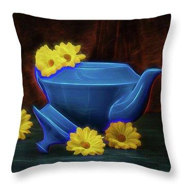 Tea Kettle With Daisies Still Life Throw Pillow