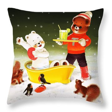 Teddy Bear Christmas Card Throw Pillow