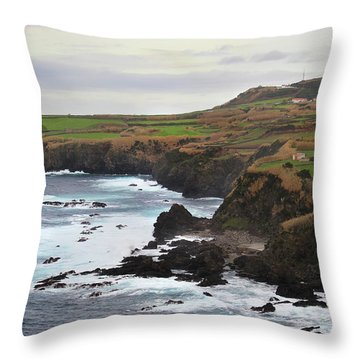 Throw Pillow featuring the photograph Terceira Coastline by Kelly Hazel