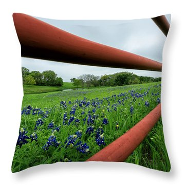 Texas Bluebonnets In Ennis Throw Pillow