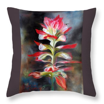 Throw Pillow featuring the pastel Texas Indian Paintbrush by Karen Kennedy Chatham