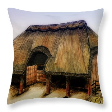 Thatched Barn Of Old Throw Pillow by Shari Nees