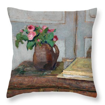 The Artist's Paint Box And Moss Roses Throw Pillow