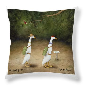 The Back Quackers Throw Pillow by Will Bullas