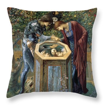 The Baleful Head Throw Pillow by Edward Burne-Jones