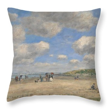 The Beach At Tourgeville Les Sablons Throw Pillow
