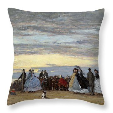The Beach At Villerville Throw Pillow