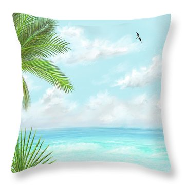 Throw Pillow featuring the digital art The Beach by Darren Cannell