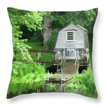 Throw Pillow featuring the photograph Painted Effect - Boathouse by Susan Leonard