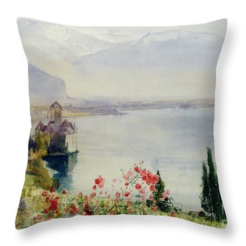 The Castle At Chillon Throw Pillow by John William Inchbold