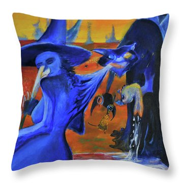 The Cat And The Witch Throw Pillow by Christophe Ennis