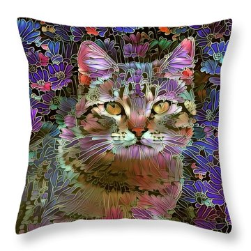 The Cat Who Loved Flowers 2 Throw Pillow