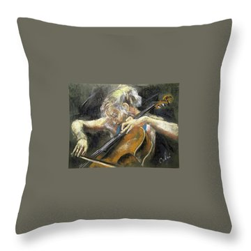 The Cellist Throw Pillow by Debora Cardaci