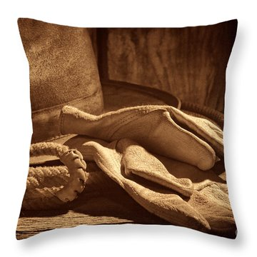 The Cowboy Gloves Throw Pillow by American West Legend By Olivier Le Queinec