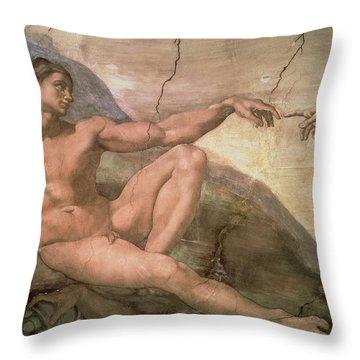 The Creation Of Adam Throw Pillow by Michelangelo Buonarroti