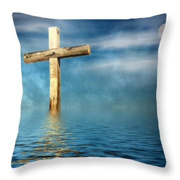 The Cross Throw Pillow by Joyce Dickens