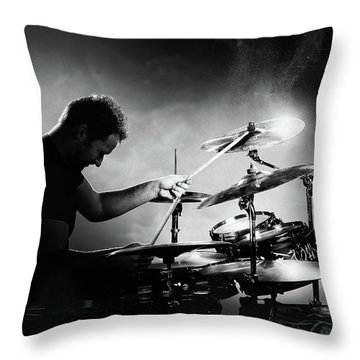 The Drummer Throw Pillow by Johan Swanepoel
