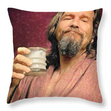 The Dude Throw Pillow by Taylan Apukovska