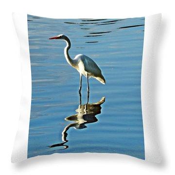 The Egret Throw Pillow