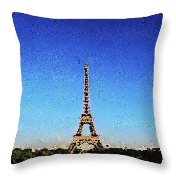 The Eiffel Tower Throw Pillow by PixBreak Art