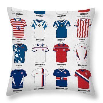 The Evolution Of The Us World Cup Soccer Jersey Throw Pillow by Taylan Apukovska