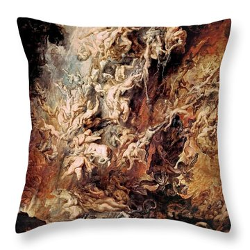 Throw Pillow featuring the painting The Fall Of The Damned by Peter Paul Rubens