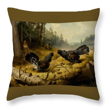 The Fighting Capercaillies Throw Pillow