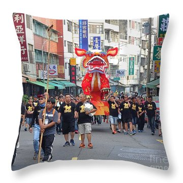 Throw Pillow featuring the photograph The Fire Lion Procession In Southern Taiwan by Yali Shi