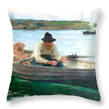 Throw Pillow featuring the painting The Fisherman by Henry Scott Tuke
