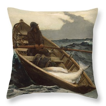 Throw Pillow featuring the painting The Fog Warning - 1885 by Winslow Homer