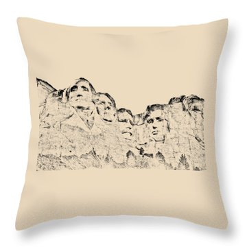 The Four Presidents Throw Pillow