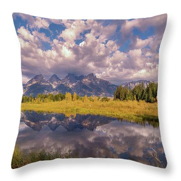 Throw Pillow featuring the photograph The Grand Tetons National Park Autumn Olena Art Fall Colors Photography by OLena Art Brand