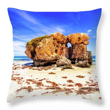 The Sentry, Two Rocks Throw Pillow by Dave Catley