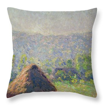 The Haystacks Throw Pillow by Claude Monet