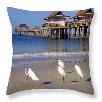 The Historic Naples Pier Throw Pillow