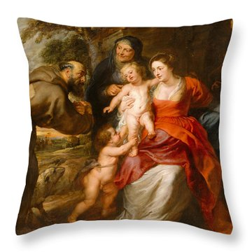 Throw Pillow featuring the painting The Holy Family With Saints Francis And Anne And The Infant Saint John The Baptist by Peter Paul Rubens