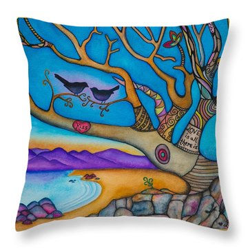 The Kiss And Love Is All There Is Throw Pillow by Lori Miller