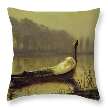 The Lady Of Shalott Throw Pillow by John Atkinson Grimshaw