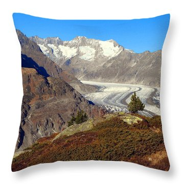 The Large Aletsch Glacier In Switzerland Throw Pillow