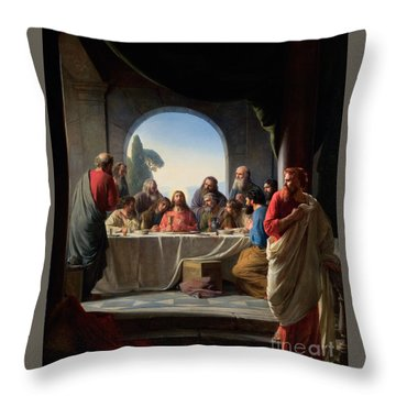 Throw Pillow featuring the painting The Last Supper by Carl Bloch