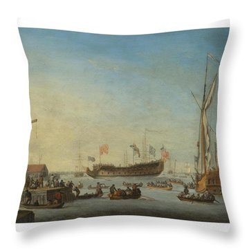 The Launch Of A Man Of War Throw Pillow
