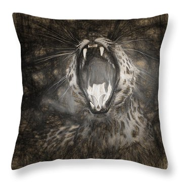 The Leopard's Tongue Rolling Roar IIi Throw Pillow