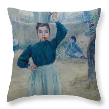 The Little Village Girl With Red Carnation Throw Pillow by Adolfo Guiard
