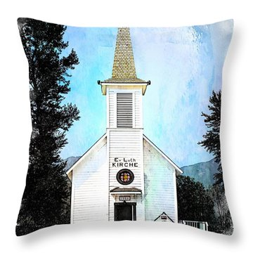 The Little White Church In Elbe Throw Pillow